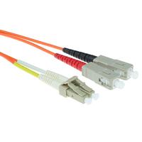 ACT 1,5m LSZHmultimode 62.5/125 OM1 glasvezel patchkabel duplexmet LC en SC connectoren Fiber optic kabel - Oranje
