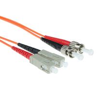 ACT 1m LSZHmultimode 62.5/125 OM1 glasvezel patchkabel duplexmet ST en SC connectoren Fiber optic kabel - Oranje