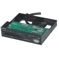 """Manhattan USB 2.0 haut débit, pour baie 3,5"""", 60 en un Lecteur de carte mémoire - Noir"""