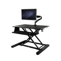 "StarTech.com Zit-sta bureau met monitor arm 89cm breed werkblad scherm tot 26"" - Zwart"