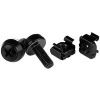 StarTech.com Paquet de 100 vis et écrous cages à montage M6 x 12 mm pour rack de serveur - Noir Vis et .....