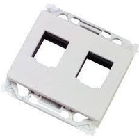 Lanview Wall plate 2 x keystone for OPUS outlet white, Type O Power Outlet - Wit