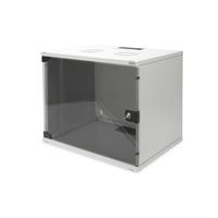 Digitus 9U wall mounting cabinet, SOHO, unmounted 460x540x400 mm, full glass front door, grey Stellingen/racks - .....