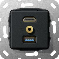 "GIRA Basiselement HDMI ""High Speed with Ethernet"", USB 3.0 Type A en mini-jack 3.5 mm Verloopkabel Dop aansluitdoos ....."