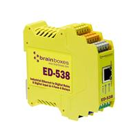 Brainboxes Ethernet to 4 Relays and 8 Digital Inputs, RS485 Gateway Power relay - Geel