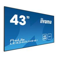 "Iiyama 42.5"", 3840 x 2160, 4K UHD, 16:9, 350 cd/m², 8 ms, AMVA3 LED, matte finish, VGA, DVI, HDMI, RS-232, ....."