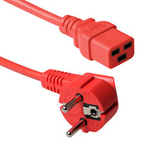 ACT Powercord schuko male (angled) - C19, red, 1.80 m Cordon d'alimentation - Rouge