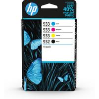 HP 932 zwarte/933 cyaan/magenta/gele originele inkt, 4-pack Inktcartridge - Zwart,Cyaan,Magenta,Geel