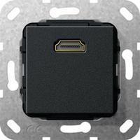 """GIRA Basiselement HDMI """"High Speed with Ethernet"""" Verloopkabel, zwart mat Dop aansluitdoos"""