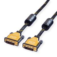 ROLINE GOLD Monitor kabel DVI, M/M, (24+1) dual link 5,0m - Zwart,Goud
