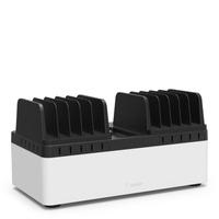 Belkin Store & Charge - Laadstation met vaste compartimenten (10-poort USB laadstation inbegrepen) - Zwart,Wit