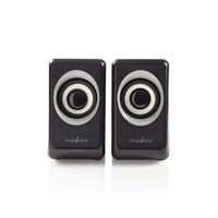 Nedis PC speaker, 2.0, 18 W, 3.5mm Jack Luidspreker - Zwart