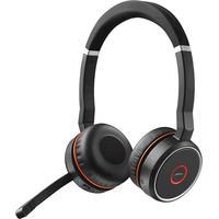 Jabra Evolve 75 MS Stereo + Station de Charge écouteurs mobiles - Noir, Rouge