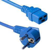 ACT Powercord schuko male (angled) - C19, blue, 3 m Cordon d'alimentation - Bleu