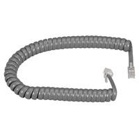 Black Box RJ-22 Modular Coiled Handset Cord, Dark Gray, 25ft. (7.6m) Telefoon kabel - Grijs