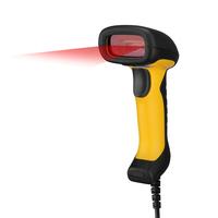 Adesso NuScan 2400U - Waterproof Handheld CCD Barcode Scanner Lecteur de code à barres - Noir,Jaune