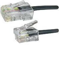 Microconnect RJ11-RJ45 Male/Male, Black, 5.0m Telefoon kabel - Zwart