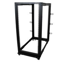 StarTech.com Rack de serveur réglable à cadre ouvert 25U 4 montants - Bâti rack avec roulettes et .....