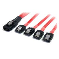 StarTech.com 50 cm lange, serieel aangesloten SCSI SAS-SFF-8087 naar 4x vastklikkend SATA Kabel - Zwart, .....