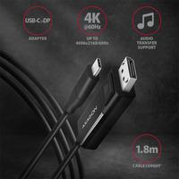 Axagon RVC-DPC USB-C > DP cable 1.8m - Zwart