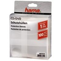 Hama CD/DVD Protective Sleeves, Pack of 100 - Transparent