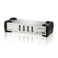 Aten Commutateur KVMP™ VGA/audio PS/2-USB 4 ports avec OSD Commutateur KVM - Noir,Métallique
