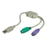 Microconnect USB A/2 x PS/2 Câble PS2 - Gris