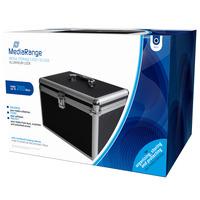 MediaRange Media storage case for 200 discs, aluminum look, with hanging sleeves, black - Zwart