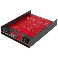 StarTech.com 4x M.2 SATA montageadapter voor 3,5 inch drive bay Drive bay paneel - Zwart, Rood