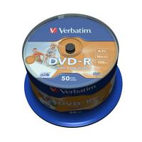 Verbatim DVD-R Wide Inkjet Printable No ID Brand, 16x (her)schrijfbare DVD