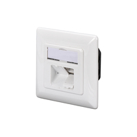 Digitus CAT 6A Class EA network outlet,shielded,2xRJ45,LSA pure white, flush mount, horizontal cable install. .....
