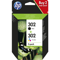 HP 302 originele zwarte/drie-kleurens, 2-pack Inktcartridge - Zwart,Cyaan,Magenta,Geel