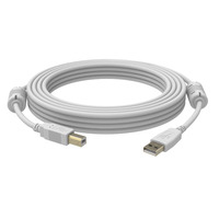 Vision USB-A/USB-B, Male/Male, USB 2.0, 10m USB kabel - Wit