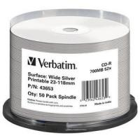 Verbatim CD-R Wide Silver Inkjet Printable No ID Brand CD