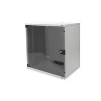 Digitus 12U wall mounting cabinet, SOHO, unmounted 595x540x400 mm, full glass front door, grey Stellingen/racks .....