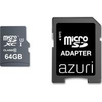 Azuri 64GB micro SDXC card UHS-I U3 - 95MB/s read 60MB/s write (4K) + SD-adapter Flashgeheugen